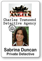 SABRINA DUNCAN CHARLIE'S ANGELS NAME BADGE TAG HALLOWEEN COSPLAY MAGNET ... - $14.84