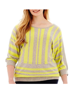 a.n.a 3/4-Sleeve Sweater Plus Size 1X Yellow/Heather Gray Striped Msrp $... - $14.99