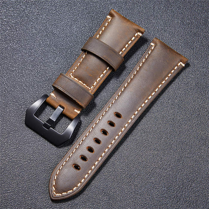 High Quality Vintage Crazy Horse Genuine Leather Watchband Red Blue Brown Watch  image 5