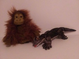 Vintage FOLKMANIS Folktails plush Hand Puppet ORANGUTAN  & GILA MONSTER.... - $11.88