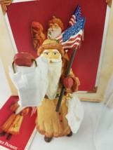 North Pole Patriot Santa Flag USA Lantern Bells Hallmark 2004 Ornament  American image 2