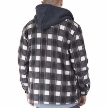 Visive Men's Zip Up Heavyweight Hoodie Soft Sherpa Lined Plaid Jacket - 4XL image 2