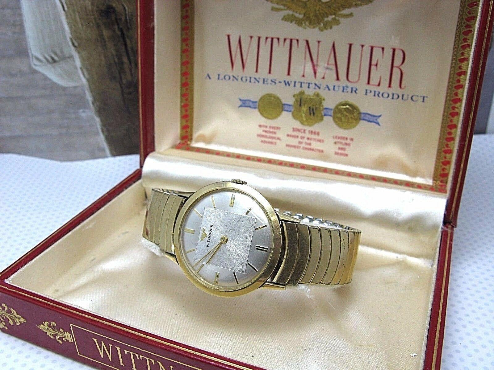 WITTNAUER LONGINE PRODUCT VINTAGE WATCH 1950'S 10K GF APEX BOX