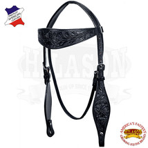 Western Horse Headstall Tack Bridle American Leather Hand Carved Hilason U-K-HS - $63.95