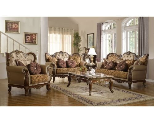 Meridian 610 Catania Living Room 3pcs Set Hand Carved Traditional Style