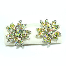 Vintage Signed Sarah Conventry Rhinestone Clip On Earrings Silver Tone - $9.89