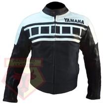 YAMAHA 6728 BLACK/WHITE MOTORBIKE MOTORCYCLE ARMOURED COWHIDE LEATHER JA... - $194.99