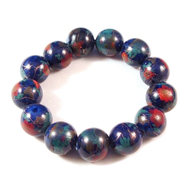 Primary image for Cloisonne Navy Blue Bead Stretch Bracelet