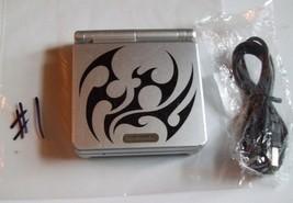 Nintendo GameBoy Advance SP Platinum Silver Handheld System TRIBAL #1 - $63.94