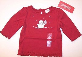 NWT Gymboree Girl's Red Snowman Ruffle Tee Top, Mountain Cabin, 6-12 Mos. - $12.99