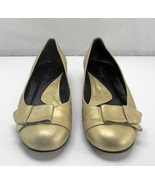 Faconnable Metallic Gold Leather Low Wedge Flats-Women's Size 8M - $28.45