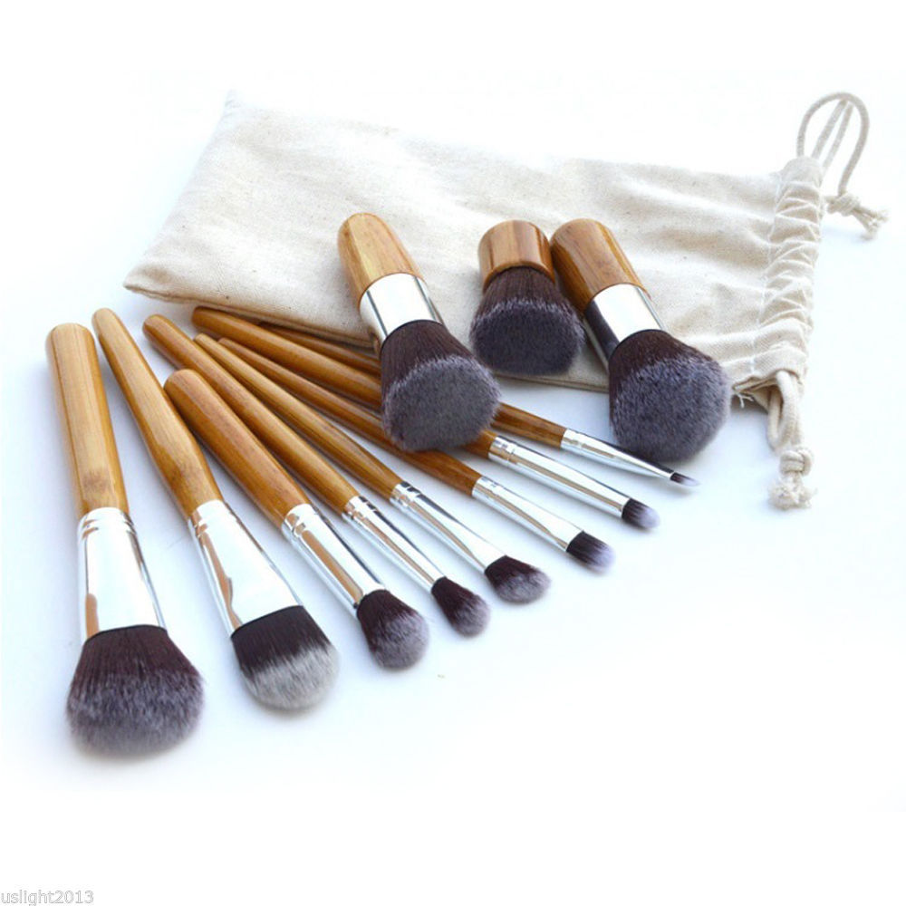 Primary image for Eco Bamboo Handle Cosmetic Makeup Brush Set 11-Piece Soft Brushes Kit With Bag