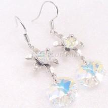 White Gold Plated Women Swarovski Element AB Crystal Flower Hook Dangle earrings - $20.17