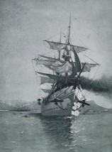 CORREZE French Troop Transport Ship Leaving Port of Toulon - 1888 Antiqu... - $19.80