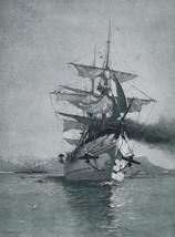 CORREZE French Troop Transport Ship Leaving Port of Toulon - 1888 Antiqu... - $19.80