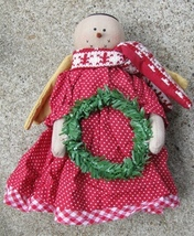 50654SRW - Snowman ANgel w/wreath  Cloth 8 inches high  - $9.95