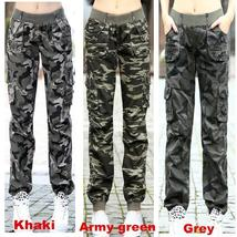 Women Outdoor Sports Elastic Waist Multi pocket Trousers Overalls Jeans ... - $29.11