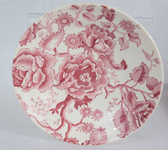 """Johnson Brothers English Chippendale China Pink Red White 7"""" Saucer Shallow Dish - $9.89"""