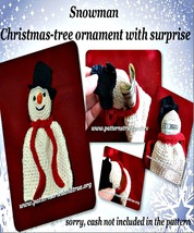 Crochet Snowman Christmas Ornament with Surpris... - $4.99