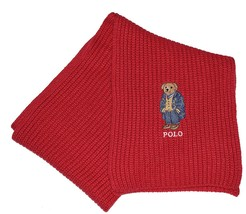 Polo Ralph Lauren Unisex Knit Scarf with Bear Logo Stitched Embroidered Red - $45.80