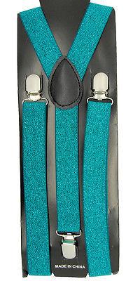 "Unisex Clip-on Braces Elastic Jade Dome ""Glitters"" Y-Back Adjustable Suspender"