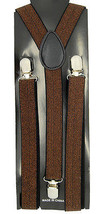 "Unisex Clip-on Braces Elastic Brown ""Glitters"" Y-Back Adjustable Suspender - $3.95"