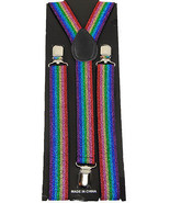 Unisex Clip-on Braces Elastic Suspender Rainbow Glitter - $3.95