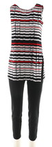 Women with Control Ankle Pants Printed Tunic Set Black L NEW A288137 - $40.57