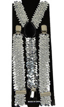 "Unisex Clip-on Braces Elastic Suspender ""White Sequin"" Y- back Suspender - $3.95"