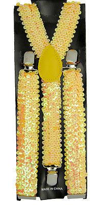 "Unisex Clip-on Braces Elastic Suspender Sequins ""Yellow"" Y- back Suspender"