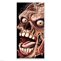 Creepy Giant ZOMBIE HEAD FACE DOOR COVER MURAL Halloween Horror Prop Dec... - $7.89