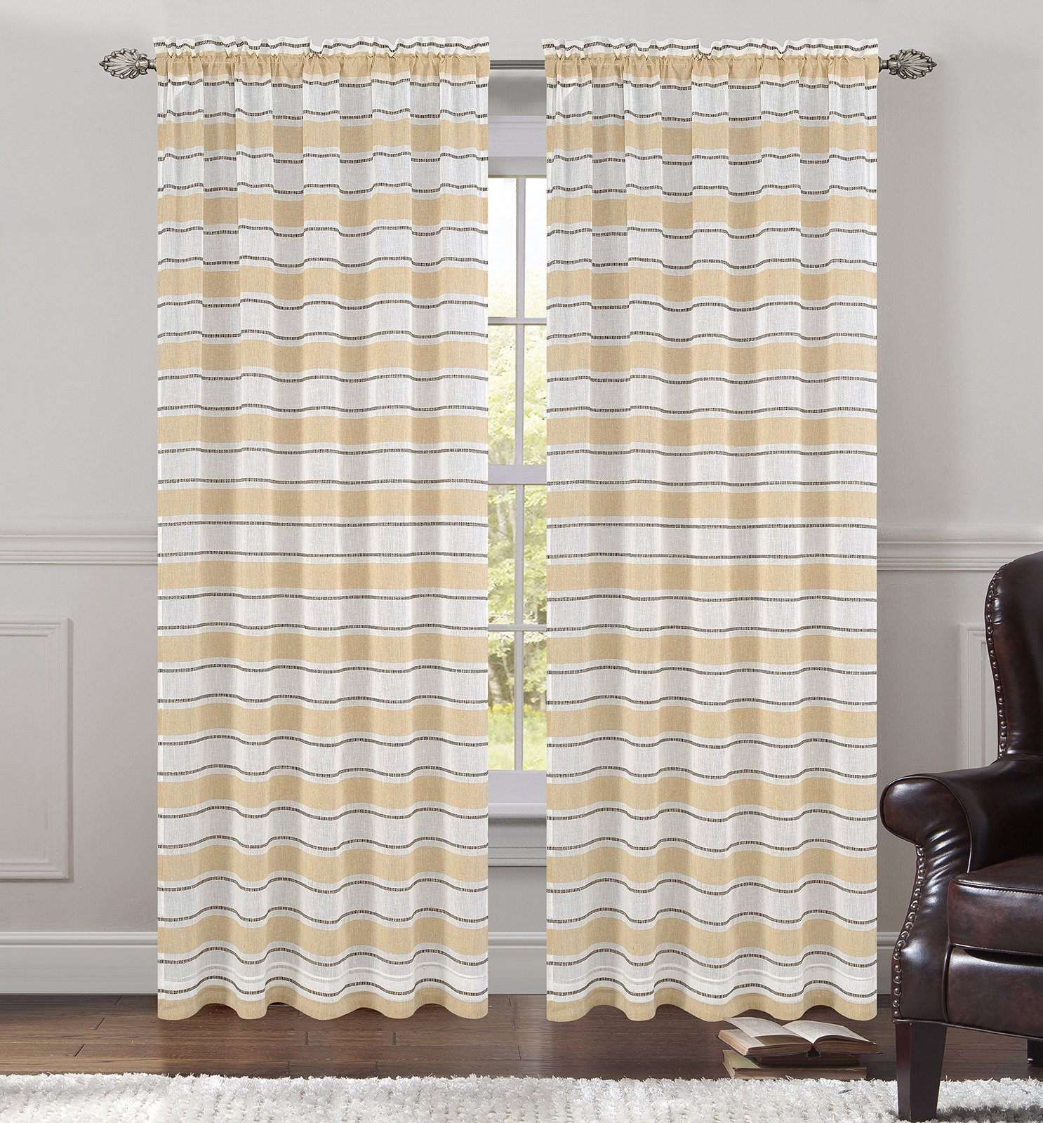 Urbanest 54-inch by 84-inch Set of 2 Faux Linen Sheer Deneuve Drapery Curtain Pa image 2