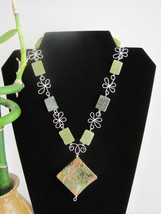Jade Necklace, Moss Agate Focal Stone Wave Cut. Silver Wire Wrap Flowerets - $65.00