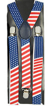 "Mens Unisex Clip-on Braces Elastic ""USA Flag"" Y Back Adjustable Suspender - $6.92"