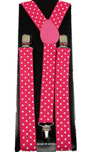 Unisex Clip-on Braces Elastic Polka Dot Pink/White Suspender NEW - $6.92