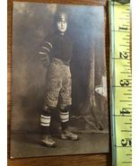 Photo Post Card Rare Early Footballer in Uniform & Helmet Albumen Type 1... - $25.00