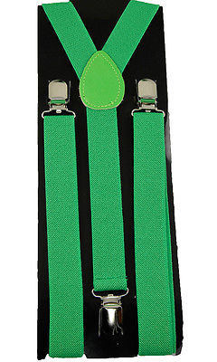 "Unisex Clip-on Braces Elastic ""Green"" Plain Y-Back Suspender"