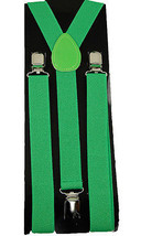 "Unisex Clip-on Braces Elastic ""Green"" Plain Y-Back Suspender - $6.92"