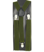 "Unisex Clip-on Braces Elastic ""Olive"" Color Y-back Adjustable Suspender - $6.92"