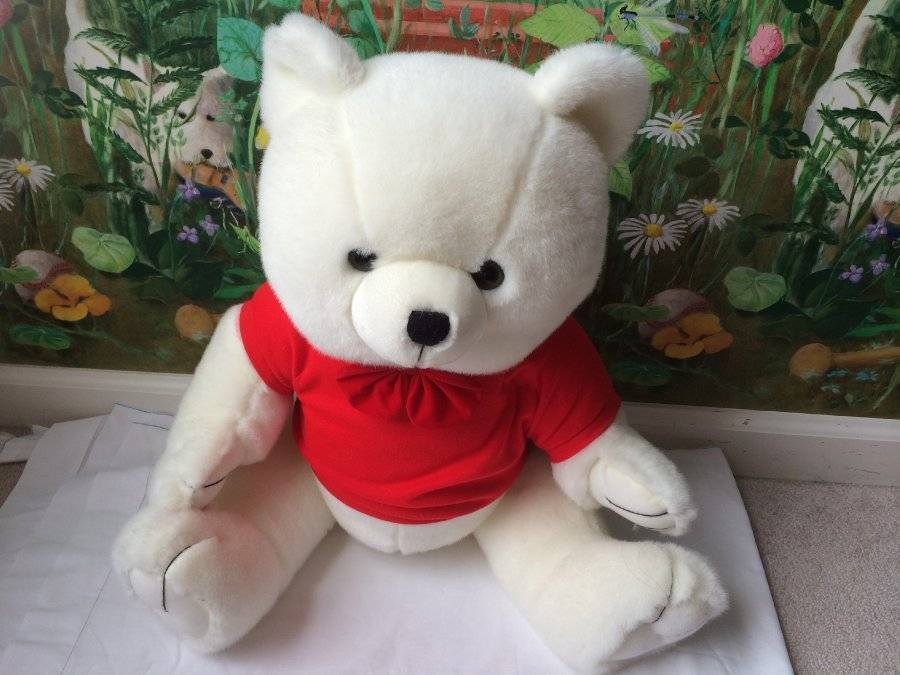 "Primary image for Steven Smith Teddy Bear Plush 24"" Stuffed Animal White in a Red Shirt  Large"