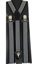 Unisex Clip-on Braces Elastic Suspender 4 WHITE BLACK - $6.92