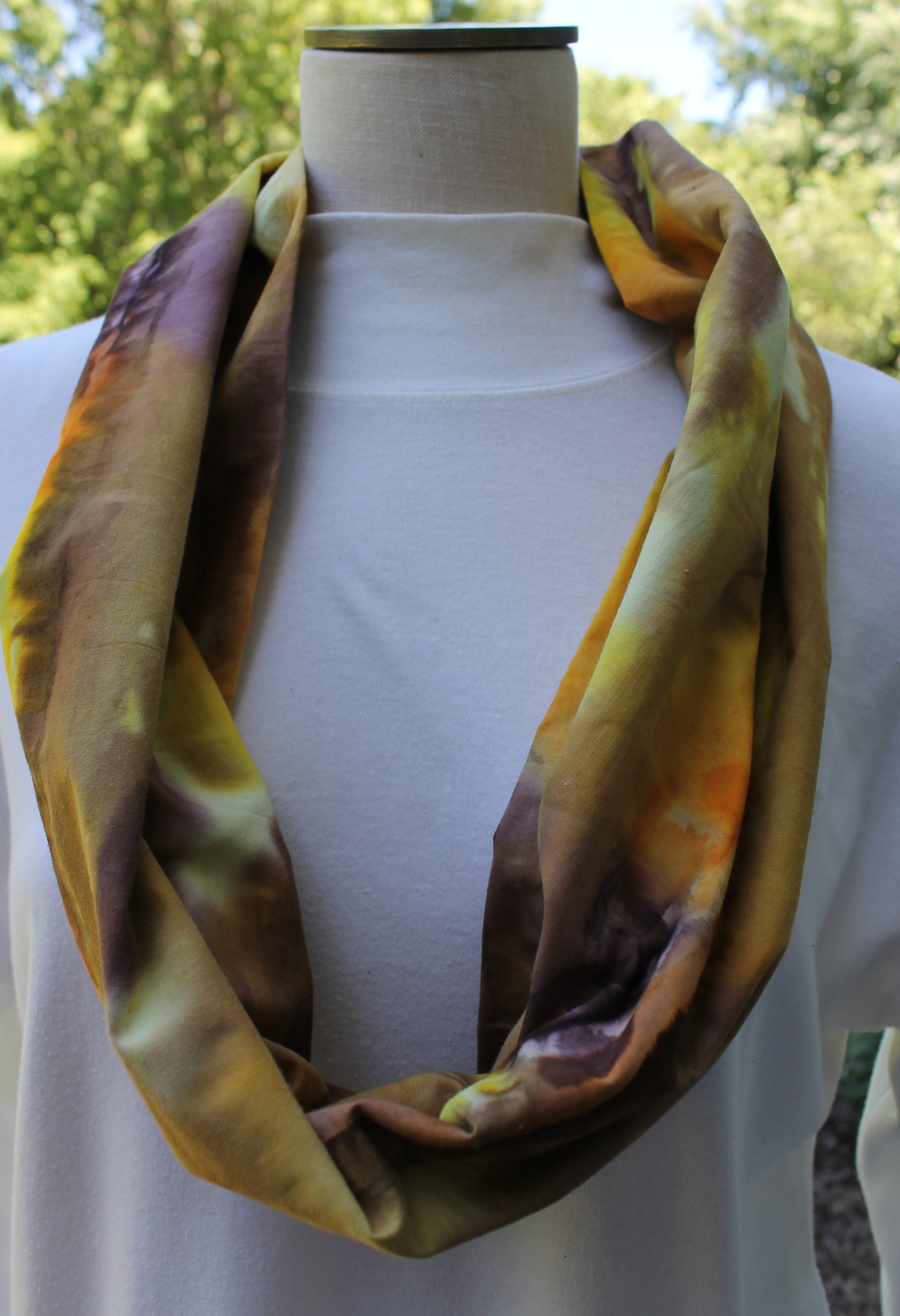 Yellow Gold Orange and Brown Cotton Infinity Scarf
