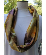 Yellow Gold Orange and Brown Cotton Infinity Scarf - $17.00