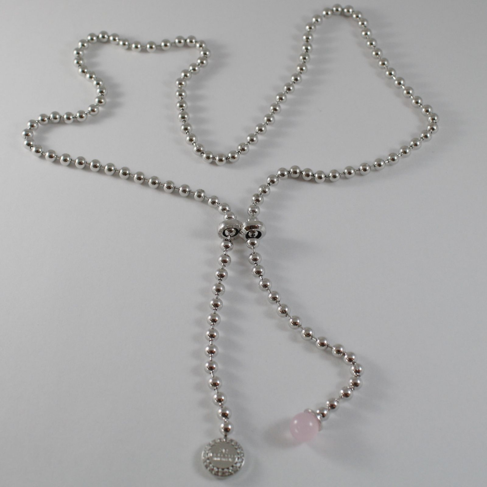 WHITE GOLD LARIAT BRONZE REBECCA BALLS NECKLACE PINK STONE BHBKBQ05 MADE ITALY