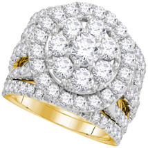 14k Yellow Gold Round Diamond Bridal Wedding Engagement Ring Band Set 4.00 Ctw - £4,370.14 GBP
