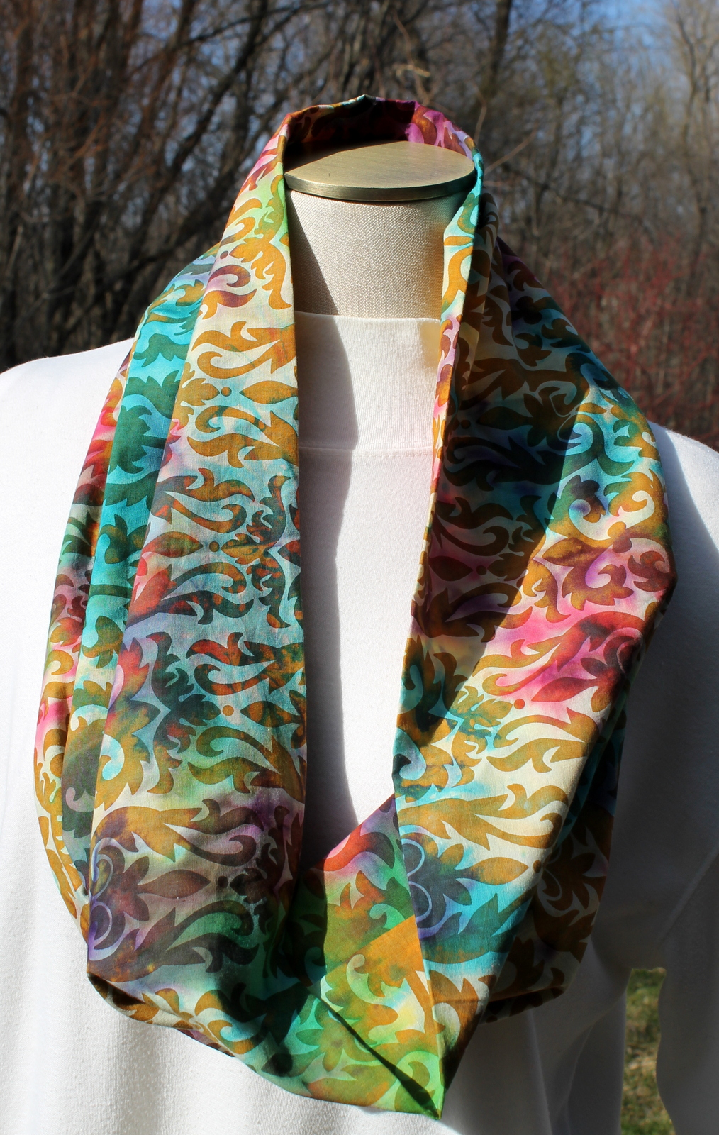 Patterned Multi-Color Cotton Infinity Scarf with Greens, Tans and Purples