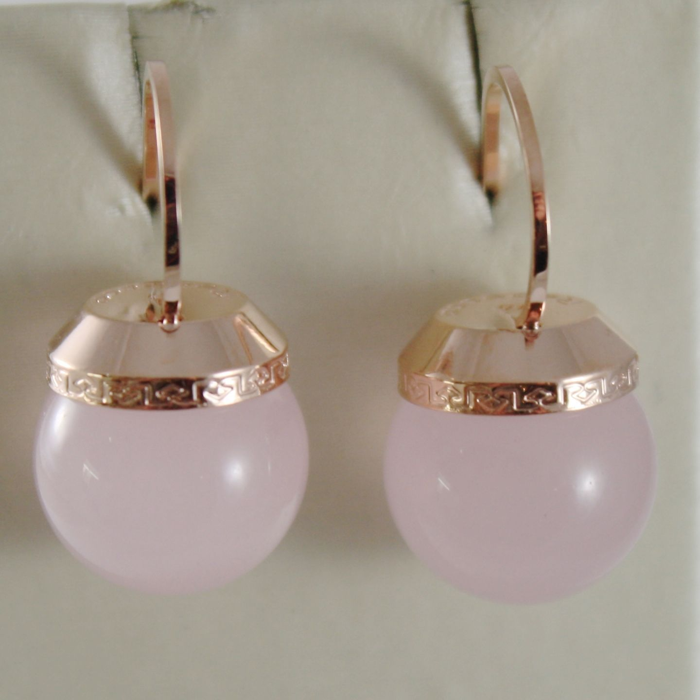 ROSE GOLD PLATED BRONZE REBECCA PINK CRYSTALS EARRINGS BHSORQ03 MADE IN ITALY