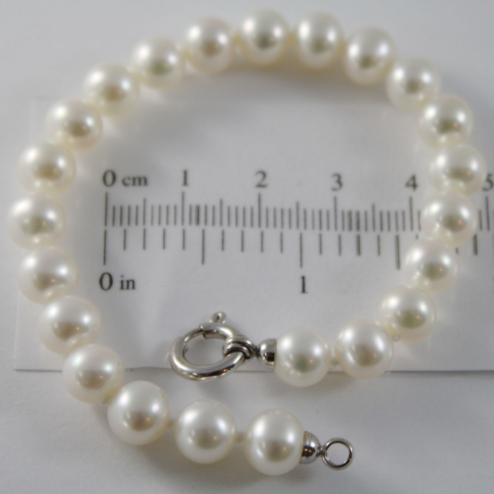 18K WHITE GOLD BRACELET 7.5 INCHES WITH WHITE 8 MM FW PEARLS, MADE IN ITALY