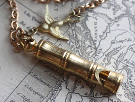 Whistle Necklace, Vintage Whistle Necklace, Bamboo Brass Whistle with Bi... - $24.00