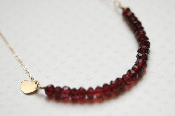 Garnet Necklace - Faceted Garnet Bead Strand Necklace - Love Necklace